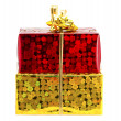 Royalty-Free Stock Photo: Red and yellow gift on a white background