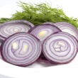 Dark blue onions and fennel on a plate — Stock Photo