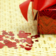 Stock Photo: Gift and hearts