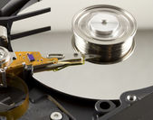 Hard disk from within with disk rotation — Stock Photo