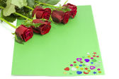Bouquet of roses with dew on a green envelope — Stock Photo