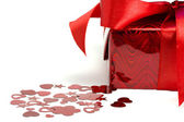 Gift and hearts — Stock Photo