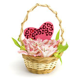 Basket with orchids — Stock Photo