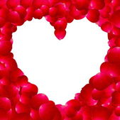 Frame in the shape of heart made ​​of rose petals — ストックベクタ