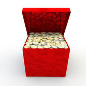 Red marble casket with coins — Stock Photo