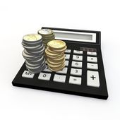 Calculator and euro coin — Stock Photo