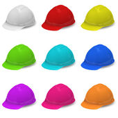 Collection of multi-colored helmets — Stock Photo