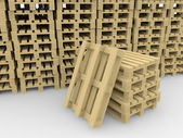 Pallets in a warehouse — Stock Photo