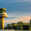 Airport control tower at sunset — Stock Photo