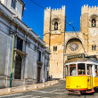 Historic yellow tram of Lisbon, Portugal — Stock Photo