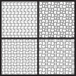 Stock Vector: Black and white seamless patterns