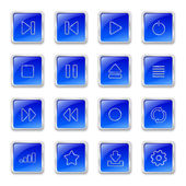 Media icons on blue buttons — Stock Vector