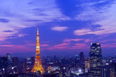 Tokyo Tower and Atago hills at sunset — Stock Photo