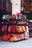 Colorful bags, pillows and pillowcases on one of the many so-called Inca Markets — Stock Photo