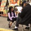 Stock Photo: Street artist drawing picture in Lima, Peru