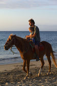 Horsebackriding in Mancora, Peru — Stock Photo