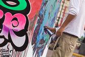 Sprayer on the Latir Latino Festival in Lima, Peru — Stock Photo