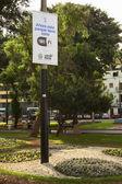 Wifi zóna přihlásit kennedy parku v miraflores, lima, peru — Stock fotografie