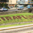 Miraflores Sign on Lawn in Lima, Peru — Stock Photo