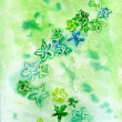 Watercolor green flowers on green background repetition — Foto de stock #12457246