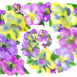Watercolor  lilac  and yellow flowers on a white background — Stock Photo