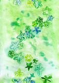 Watercolor green flowers on a green background repetition — Stock Photo