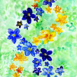 Watercolor dark blue and yellow flowers on a green background — Stock Photo