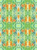 Watercolors repetition abstract drawing with flower on green bac — Stock Photo