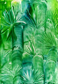 Watercolors abstract green background bamboo — Stock Photo