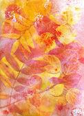 Watercolor autumn leaves — Stock Photo