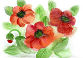 Watercolors red flowerses — Stock Photo