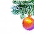 Christmas tree, watercolor painting — Stock Photo