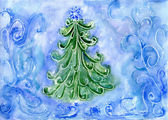 Christmas tree, watercolor painting — ストック写真