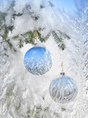 Frosty pattern at a winter window glass — Stock Photo