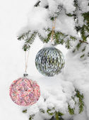 Christmas Background with Knitted Ball. — Stock Photo