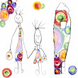Drawing of the child happy family with iridescent circles. - Stock Photo