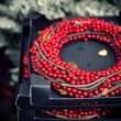 Shiny red beads — Stock Photo