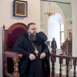 Orthodox liturgy with bishop Mercury in High Monastery of Saint Peter — Stock Photo