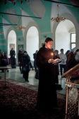 Orthodox liturgy with bishop Mercury in High Monastery of Saint Peter — Stock Photo