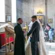 Bride and groom during orthodox wedding ceremony - Foto Stock