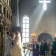 Bride during orthodox wedding ceremony - Stockfoto