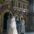 Bride and groom during orthodox wedding ceremony - Foto de Stock  
