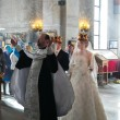 Bride and groom during orthodox wedding ceremony - 图库照片