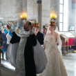 Bride and groom during orthodox wedding ceremony - Stockfoto