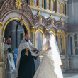 Bride during orthodox wedding ceremony — Stock Photo