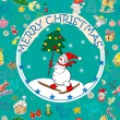 Stock Photo: Christmas card over pattern