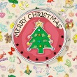 Stock Photo: Christmas tree card pattern