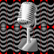 Microphone on a retro pattern — Foto de Stock