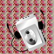 Royalty-Free Stock Photo: Walkman on a pixel pattern