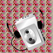 Stock Photo: Walkman on a pixel pattern